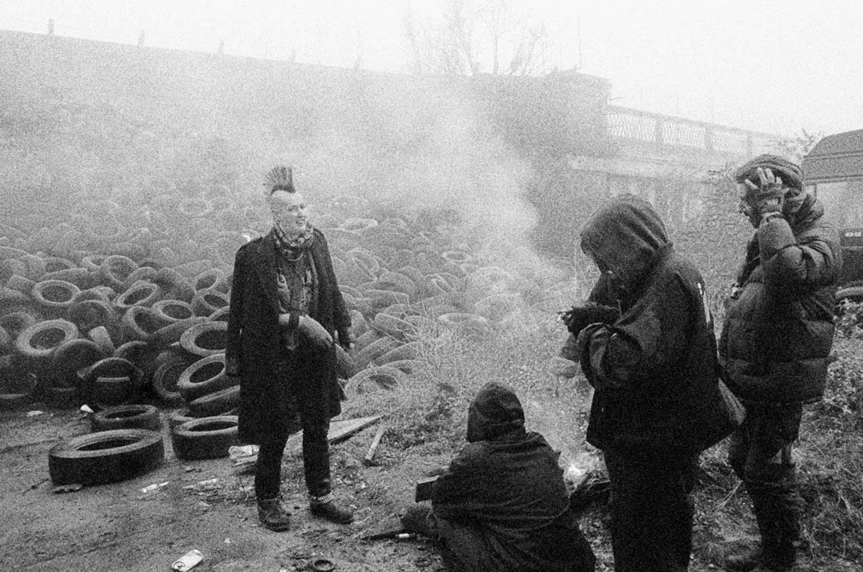 Molly Macindoe - Punk Kath tyres by the fire, The Pumphouse, Abbey lane, Stratford, London, 2002