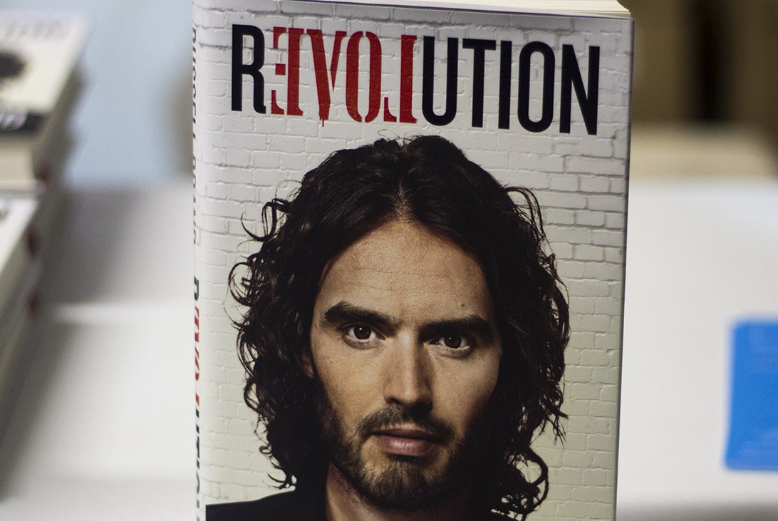 Russell Brand at his book launch at Hoxton docks, Wednesday 22nd October 2014 © Hannah Hutchins