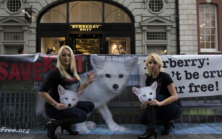 'SAVE KIMI' protest outside 'Burberry' in Covent Garden Photographs by Hannah Hutchins