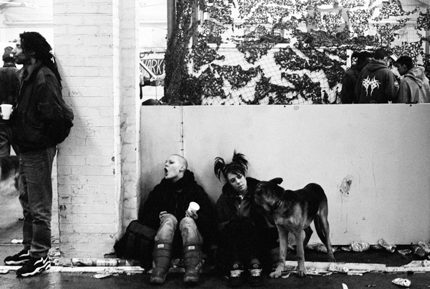 Molly Macindoe - Sally, Belinda and Knickers the dog, Acton, London, 1999