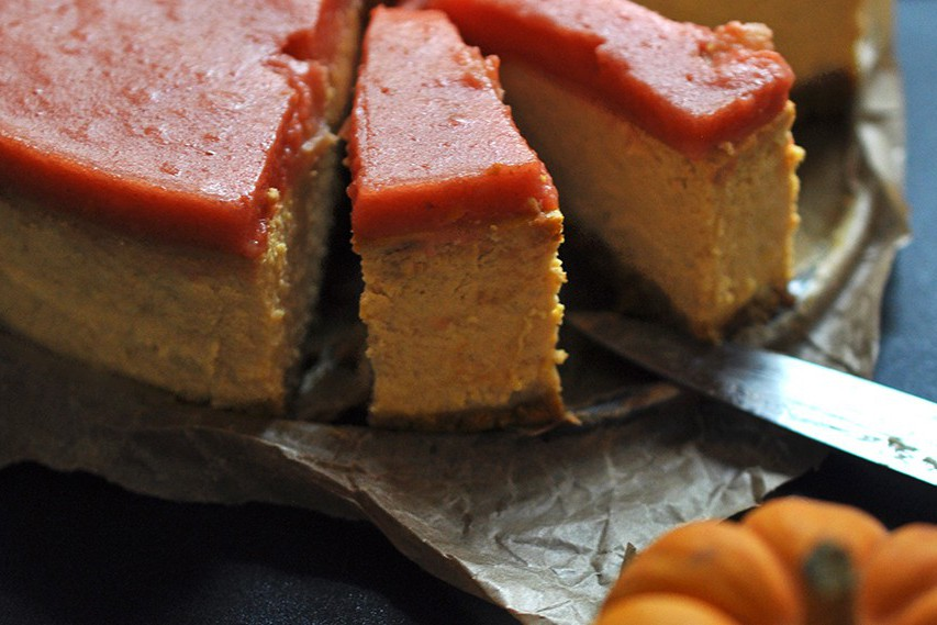 Pumpkin and quince cheesecake