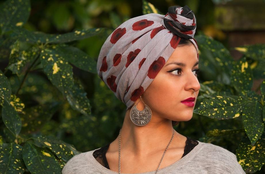 Poppy hijab designed by LCF student Tabinda-Kauser Ishaq