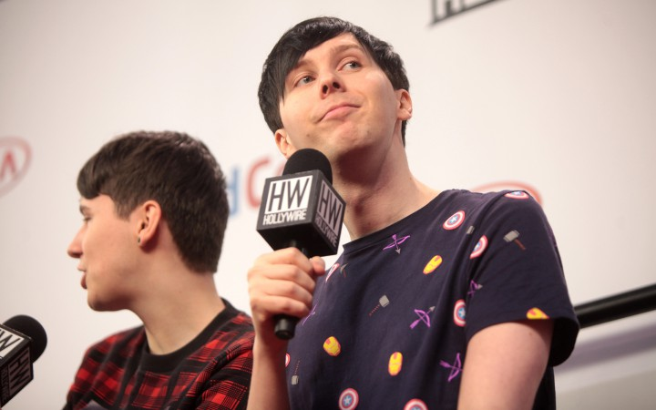 Dan Howell and Phil Lester speaking at the 2014 VidCon at the Anaheim Convention Center in Anaheim, California. © Gage Skidmore