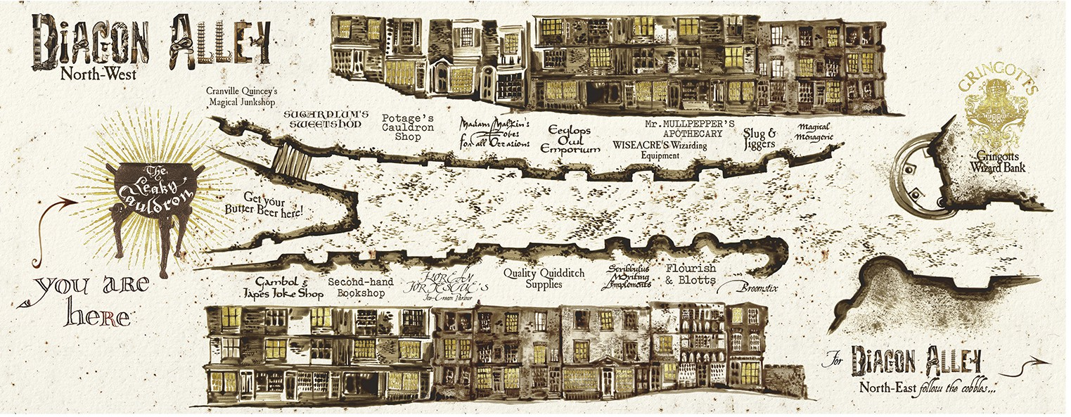 Diagon Alley Map designed by MinaLima
