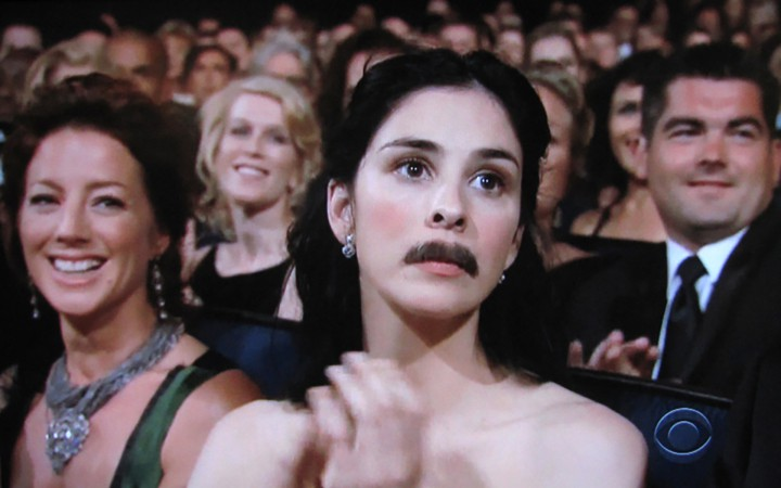 sarah silverman wearing a moustache