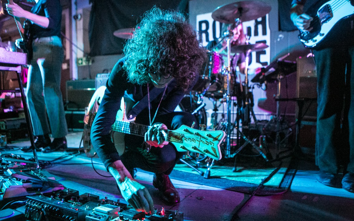 2nd December 2014 - Temples frontman James Bashaw plays with the sound frequencies on his pedal board to give the ultimate Temples live experience