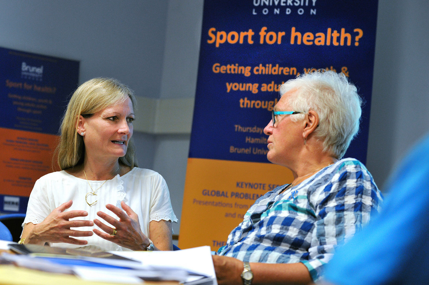 Susan Bissell, UNICEF's Chief of Child Protection, with Professor Celia Brackenridge, Emeritus Professor at Brunel University London's Centre for Sport, Health and Wellbeing.