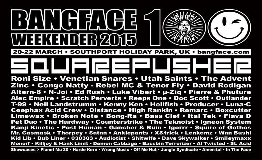 Bangface Weekender 2015 Lineup poster [Bangface 2015]