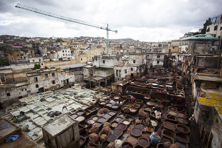 Leather Tanneries in Fez Medina, Morocco.