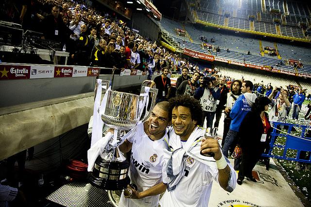 Real Madrid's Pepe & Marcelo aloft the Copa Del Rey in 2011