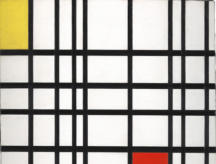 Composition with Yellow Blue and Red. Copyright whitechapel gallery, Piet Mondrain