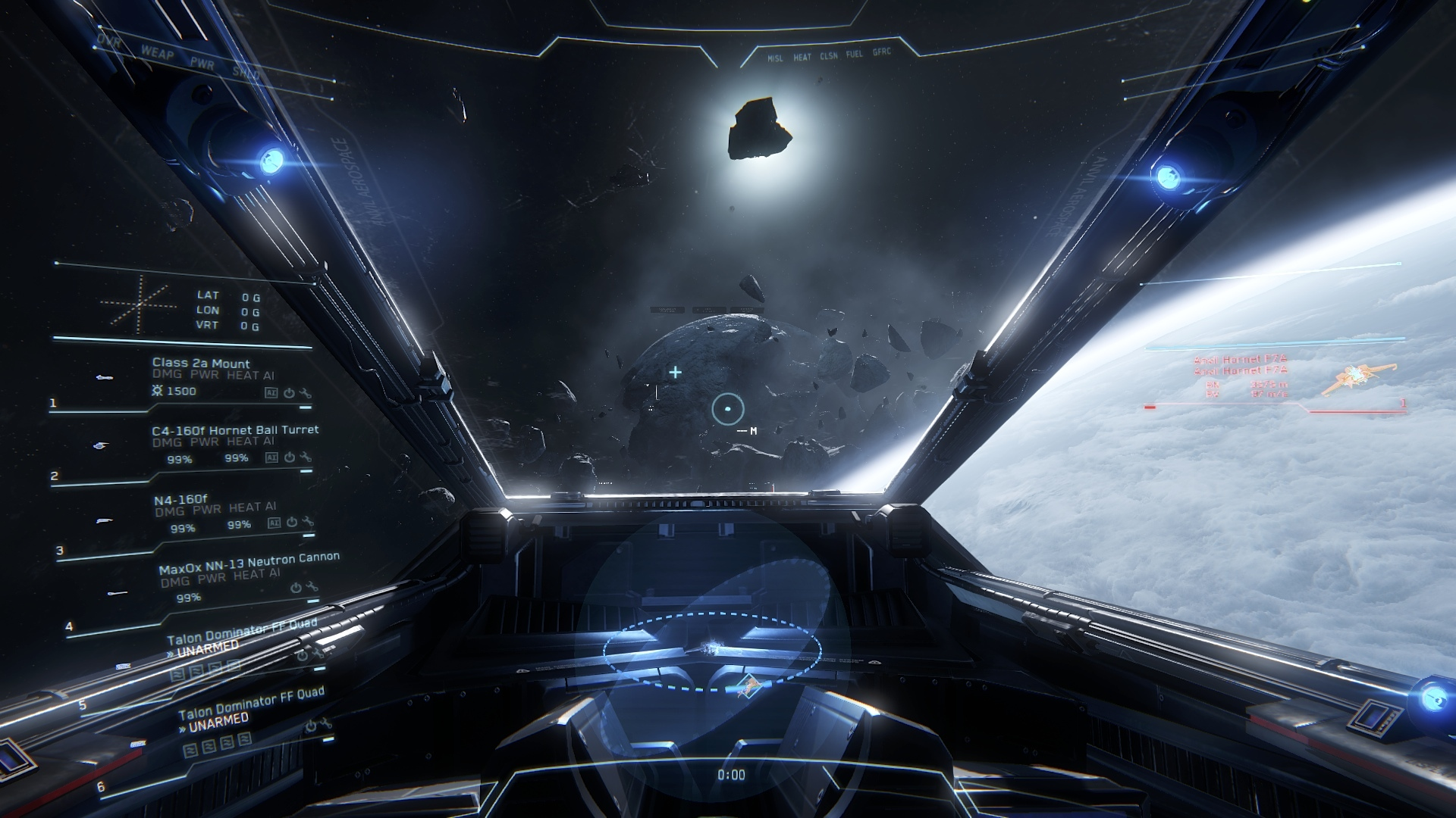 Cockpit view from one of the craft in Star Citizen's dogfight mode