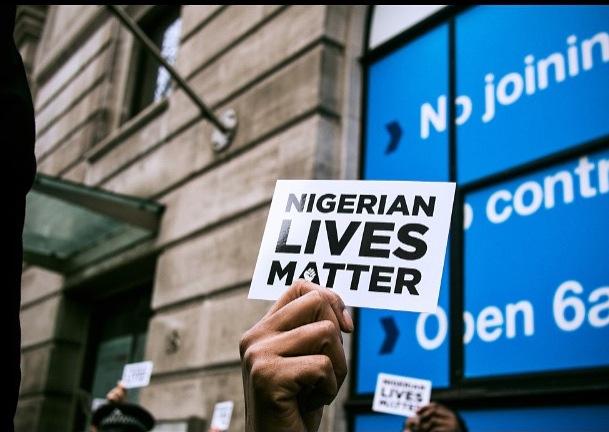 Hundreds meet to protest against Boko Haram.