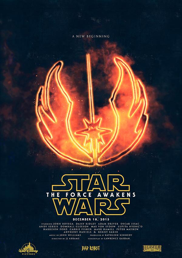 Star_Wars_The_Force_Awakens_Film_Poster Lucas film Bad Robot Walt Disney Pictures and J.J. Abrams