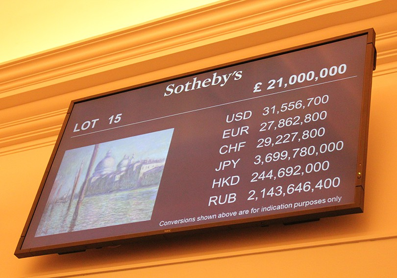 The bidding price board at Sotheby's