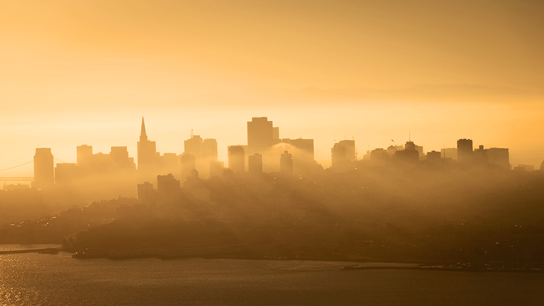 San Francisco City clothed in morning fog. [Flickr: KaddiSudhi]