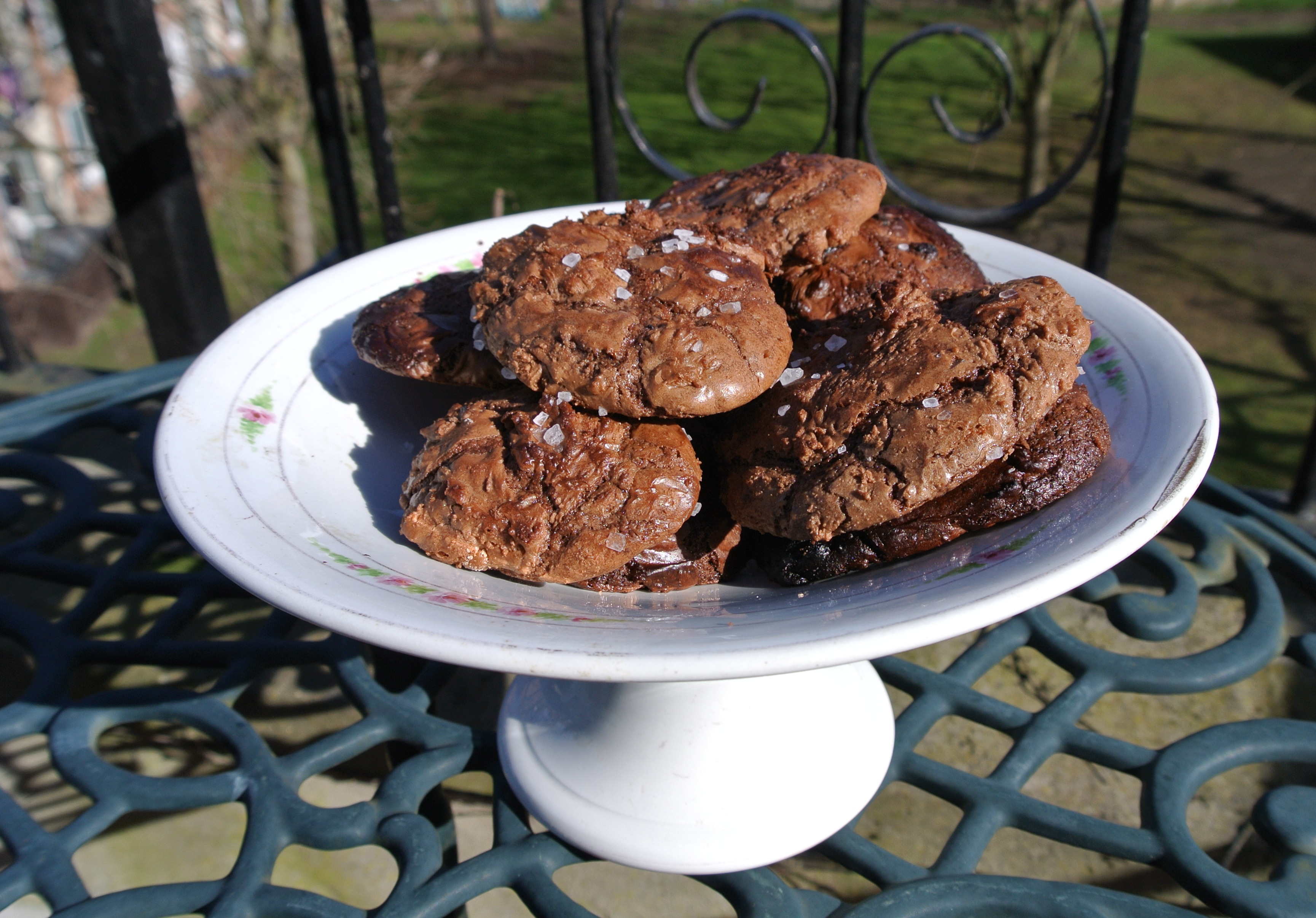 Chocolate cookies on white dish