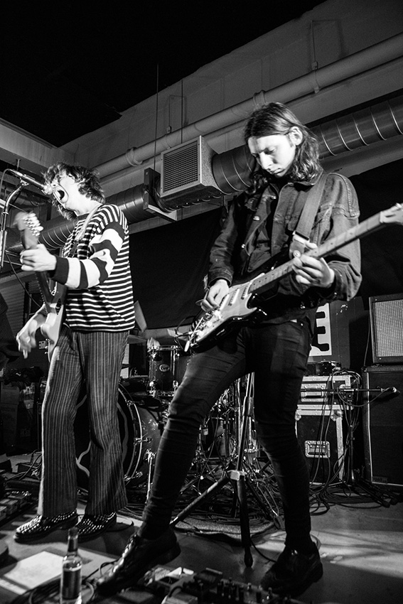 Singer Harrison Koisser and guitarist Doug Castle of the Birmingham band Peace, performing at Rough Trade East London. [Lauren Towner]