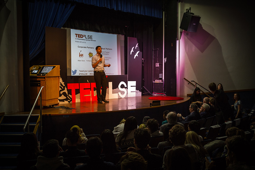 TedXLSE speaker on stage
