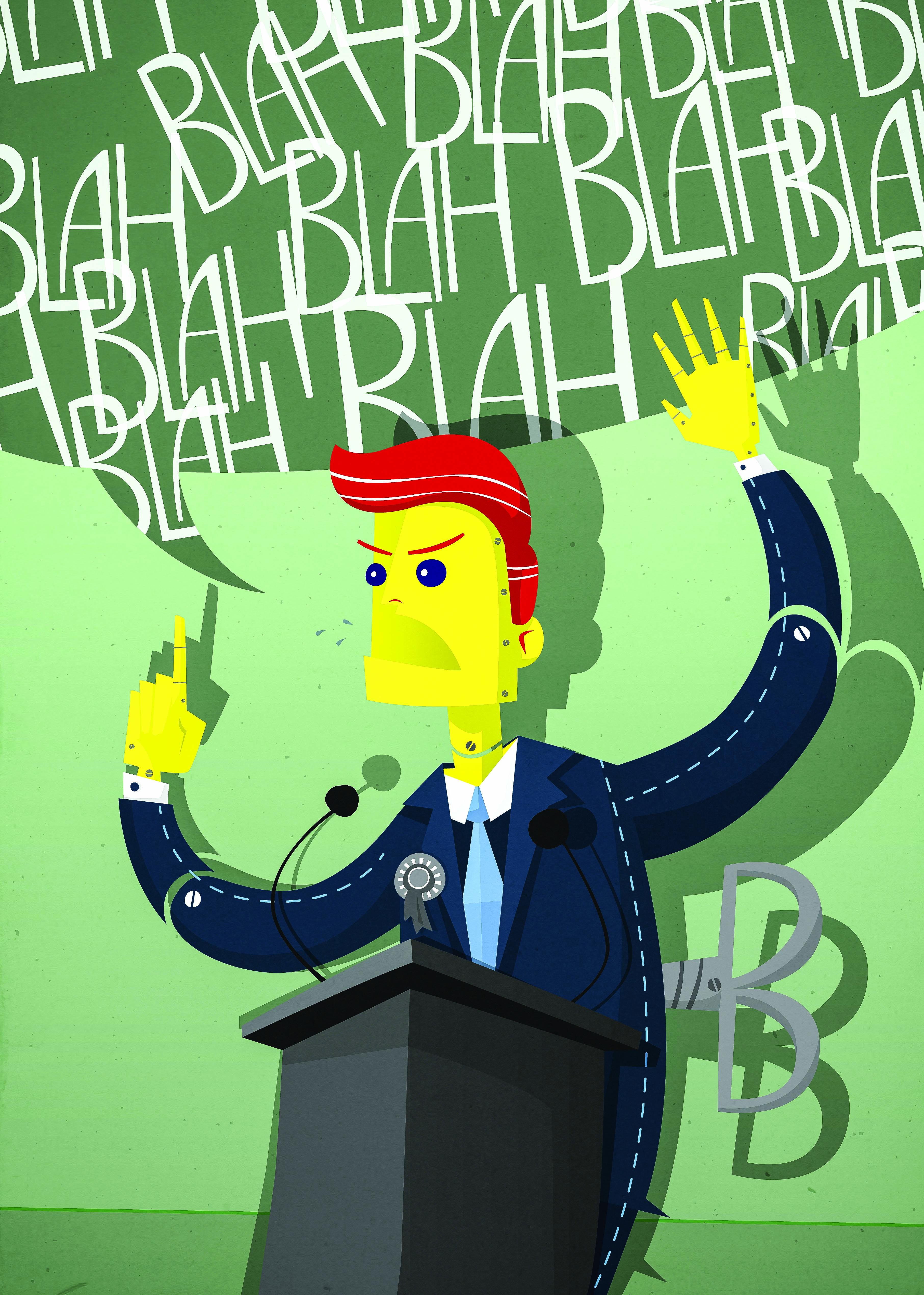 "Cartoon of a politician saying ""Blah Blah Blah"""