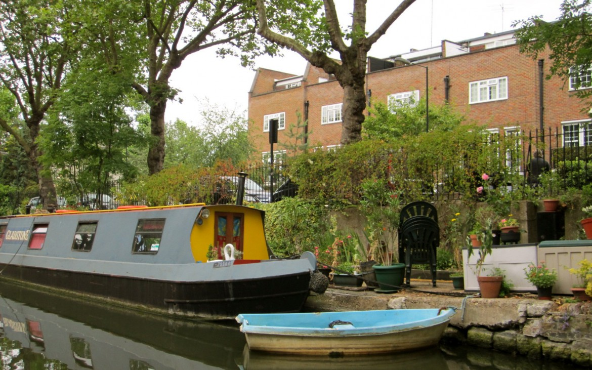 Houseboat moored on a canal