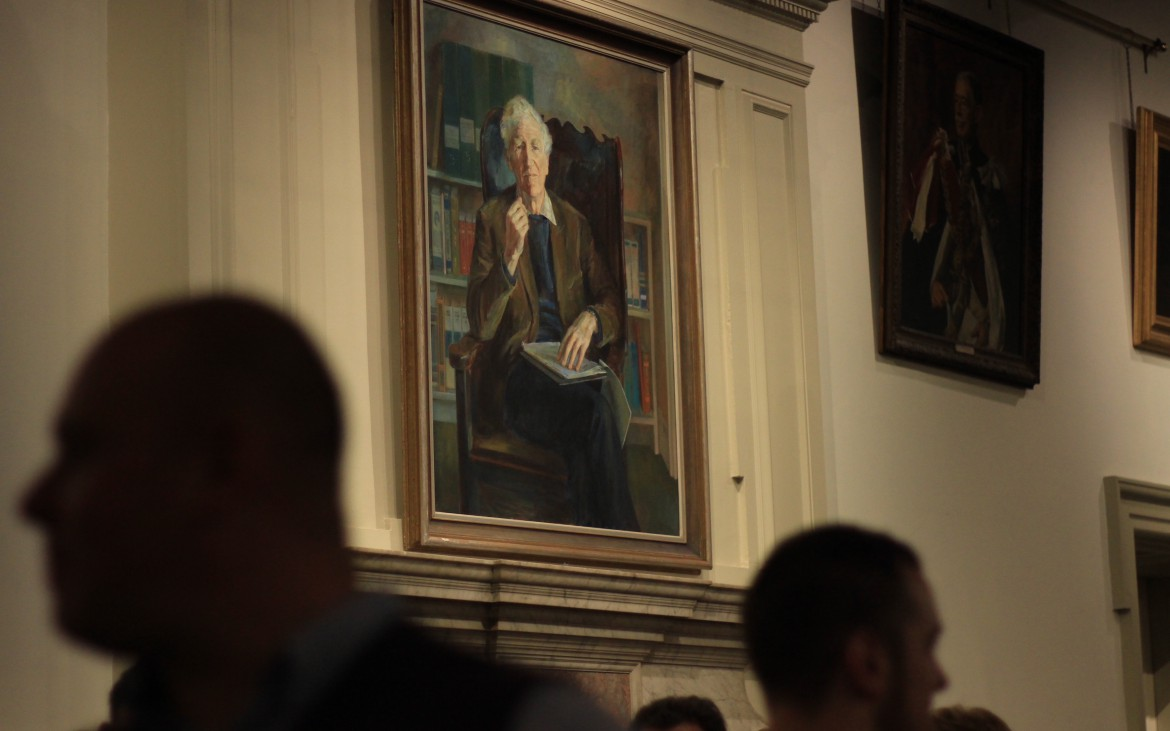 portrait hanging in the royal geography society in london for wanderlust world guide awards