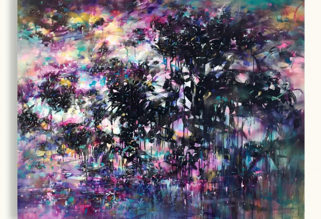 Ijen Acrylic, spray apint and oil on canvas