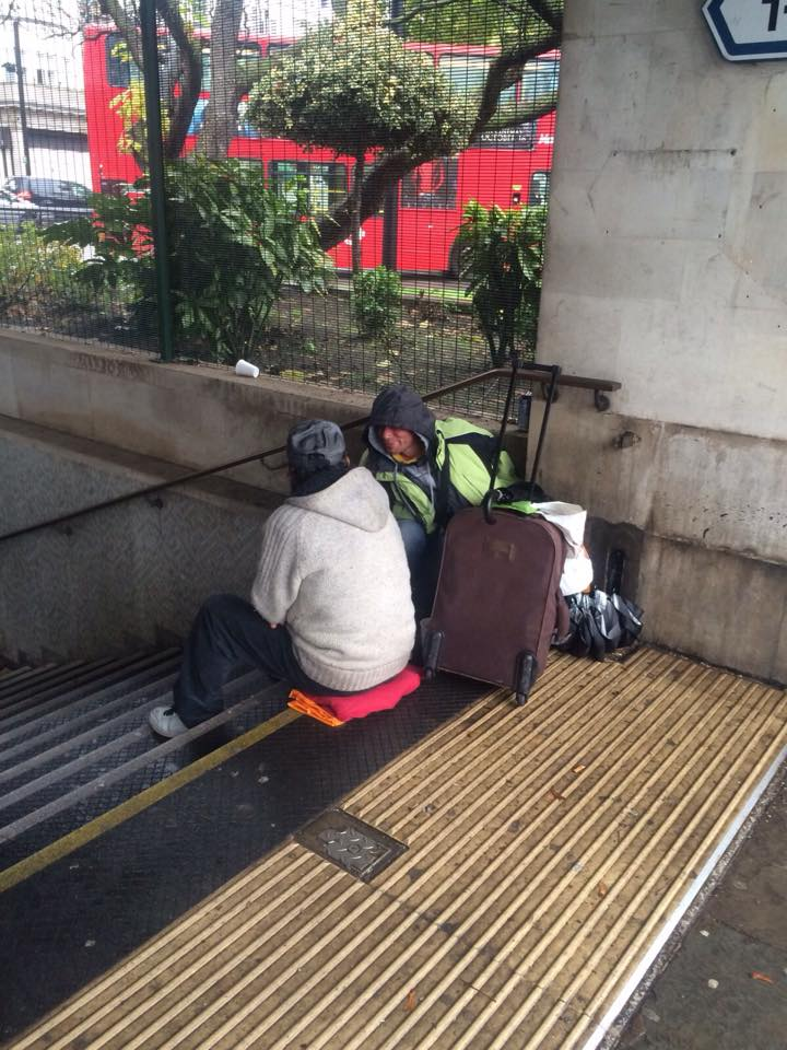 Two Romanians outside Marble Arch station