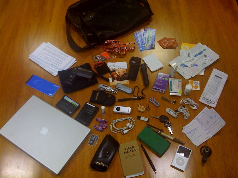All items in a handbag emptied out on the floor