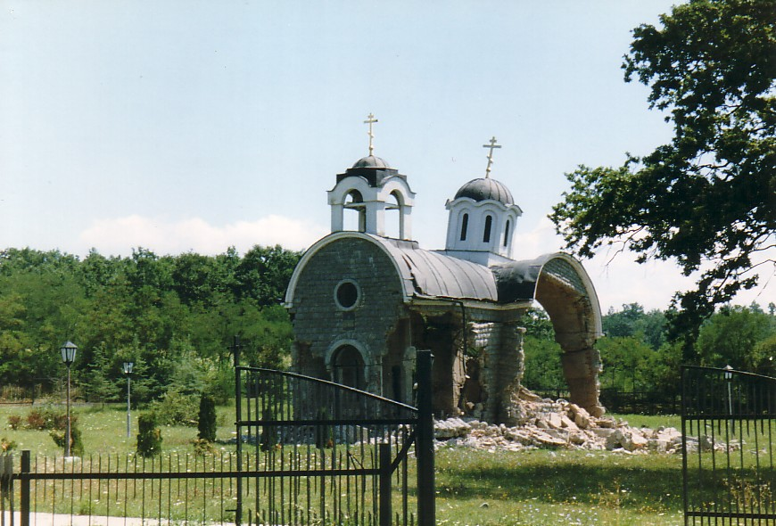 Destroyed church in Kosovo