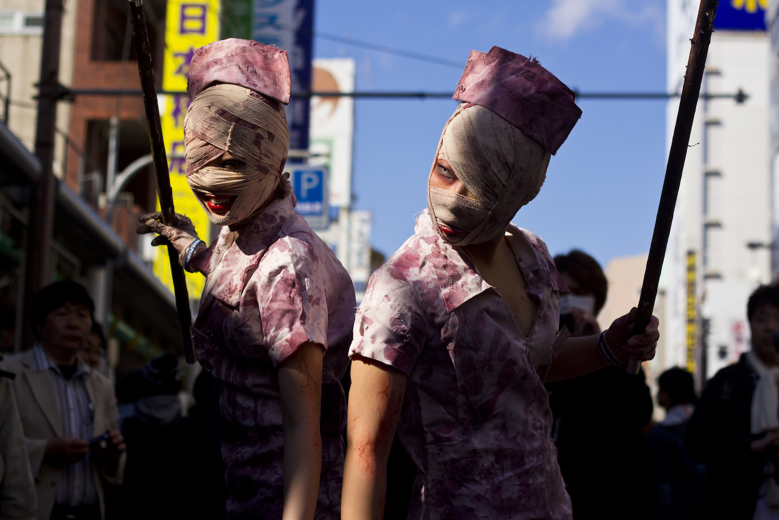 Cosplayers as Silent Hill nurses