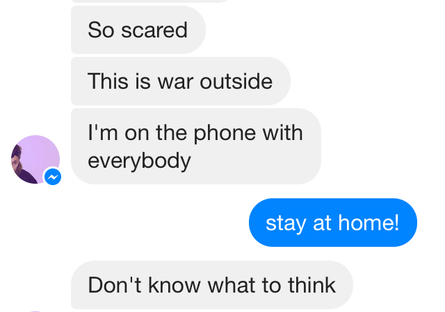 Alex Fuller's text messages capture the sense of panic in Paris