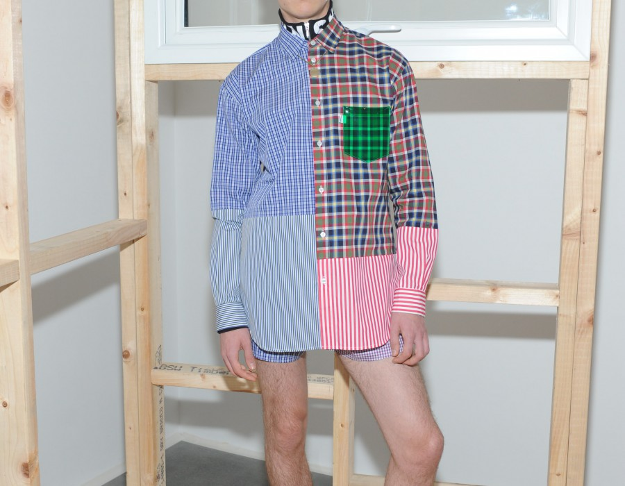 Model in a patchwork shirt