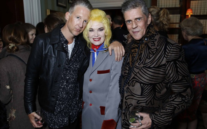 Jefferson Hack, Pam Hogg & Judy Blame at the London Collections Men launch party (Photographer: Darren Gerrish) via BFC