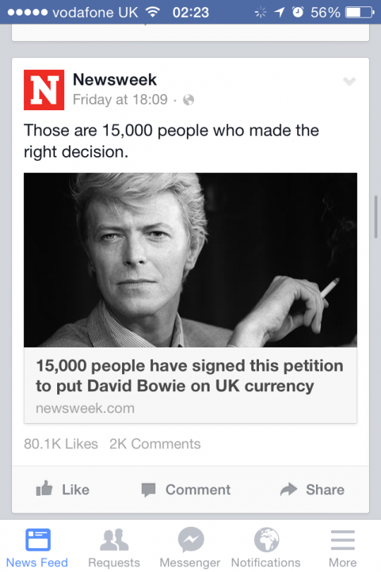 Fans signing petition to put Bowie's face on a £20 notes Screengrab via Facebook