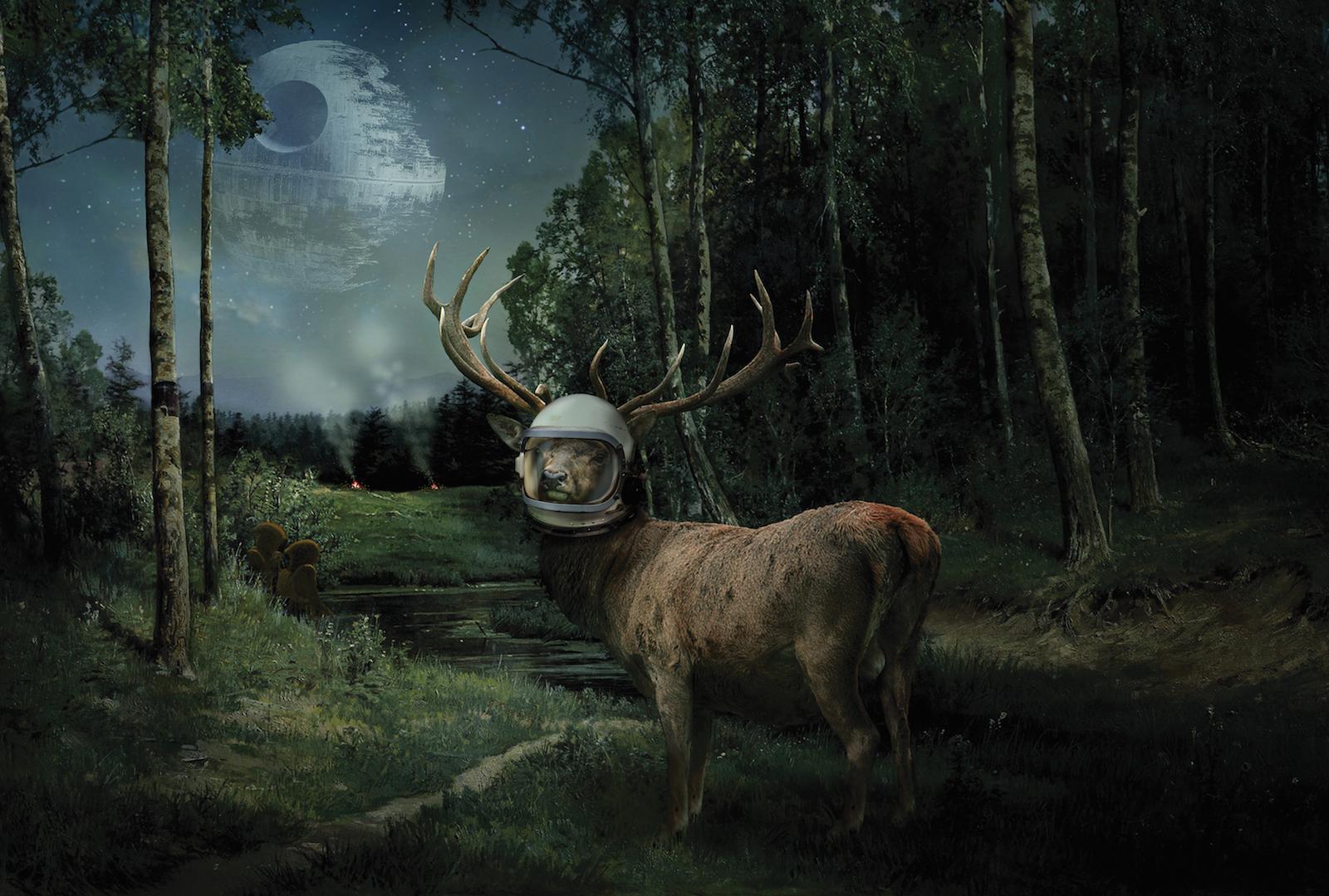 A deer wearing a space helmet