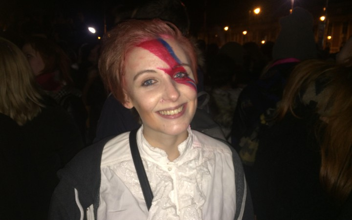"""Fan wearing the """"lightning bolt"""" at the Brixton party Photo by Lauren Sharp"""