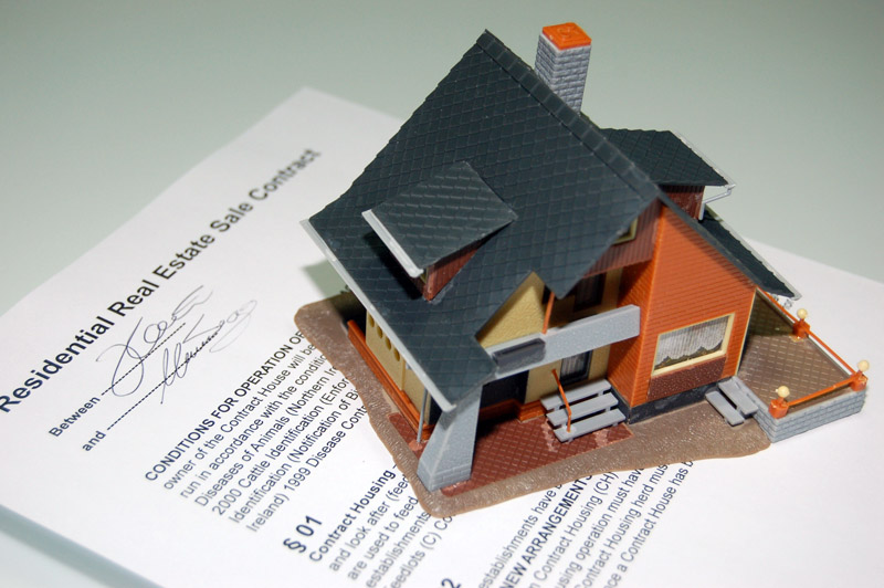 A model house with a contract