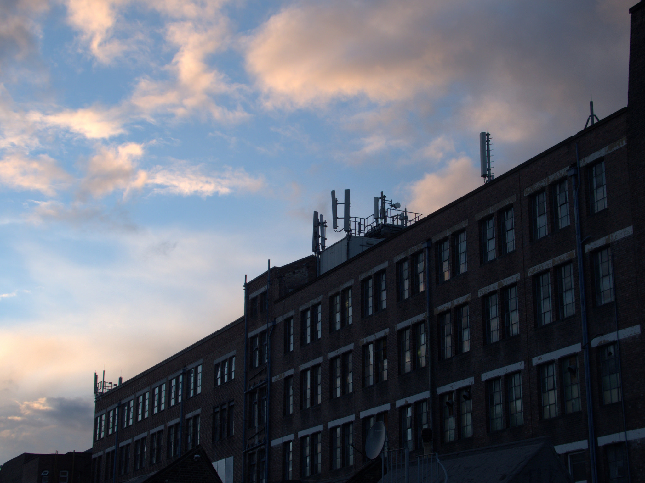 Factory building at dawn