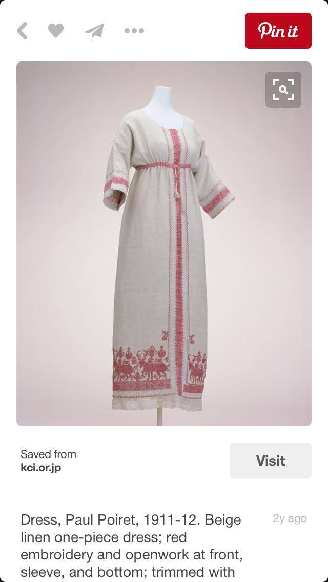 A Paul Poiret's dress worn by Denise - Russian linen towels embroidered and made from original peasant work/  KYOTO Museum dress collection / via Pinterest