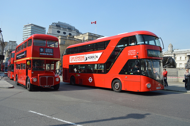 Old and new Routemaster London Buses