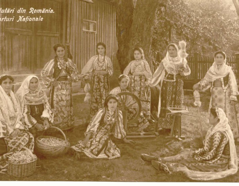 Vintage photo of women in traditional outfits