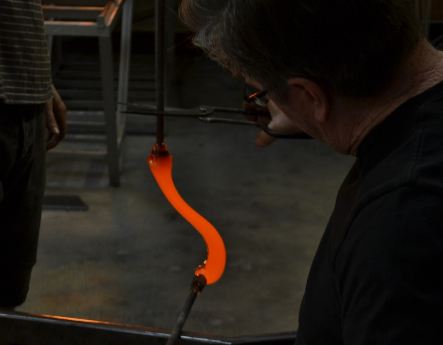 A glassblower at work