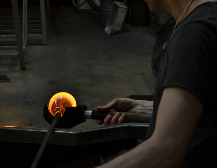 A glassblower at work