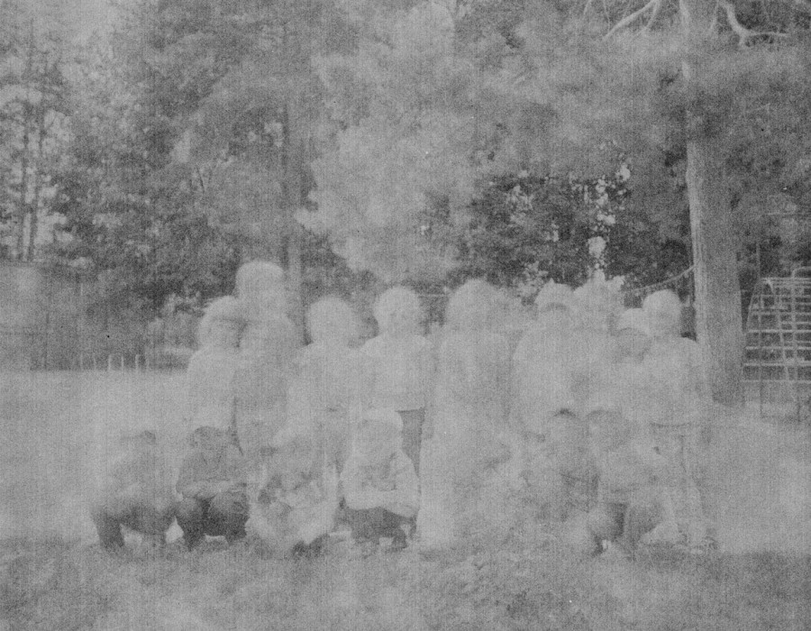 Faded photo of a group of children
