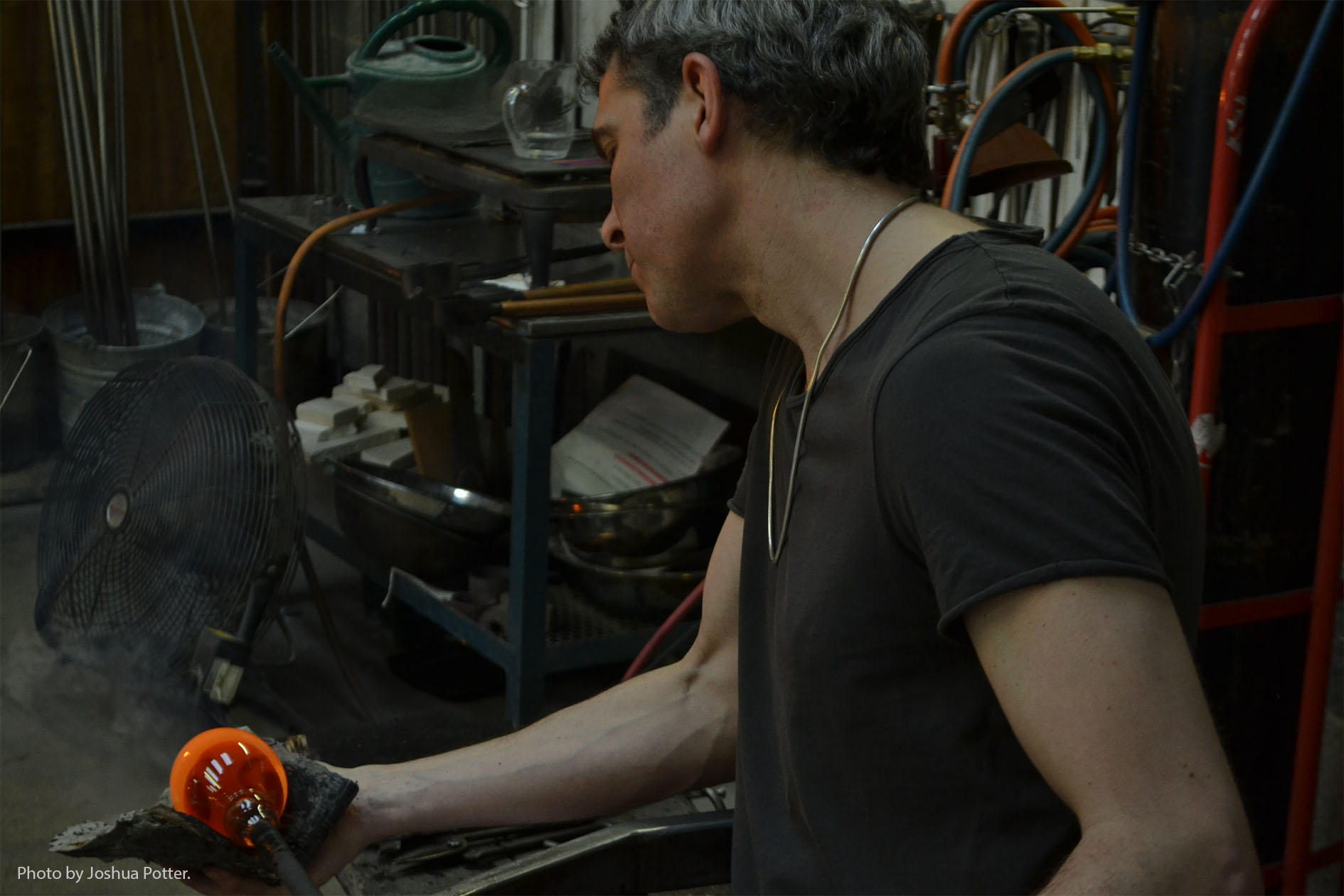 It can take ten years for an apprentice glassblower to get good enough to produce their own work independently. Layne Rowe (above) has been a glassblower for about twenty-five years, starting after he finished university.