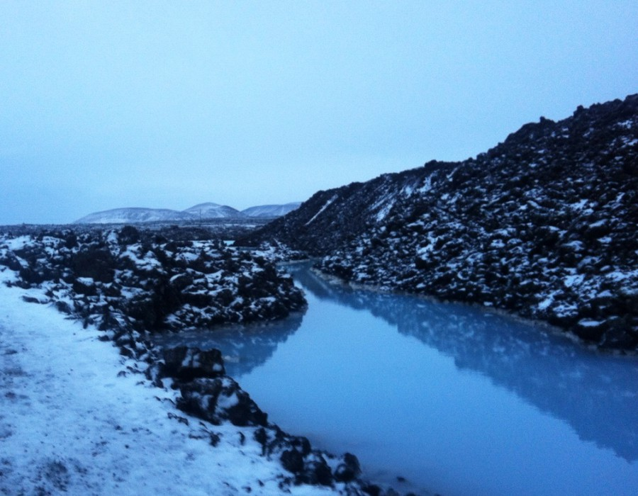 Lagoon in a snowy landscape