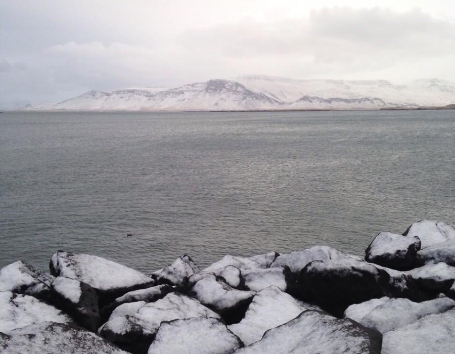 Snow on the sea shore