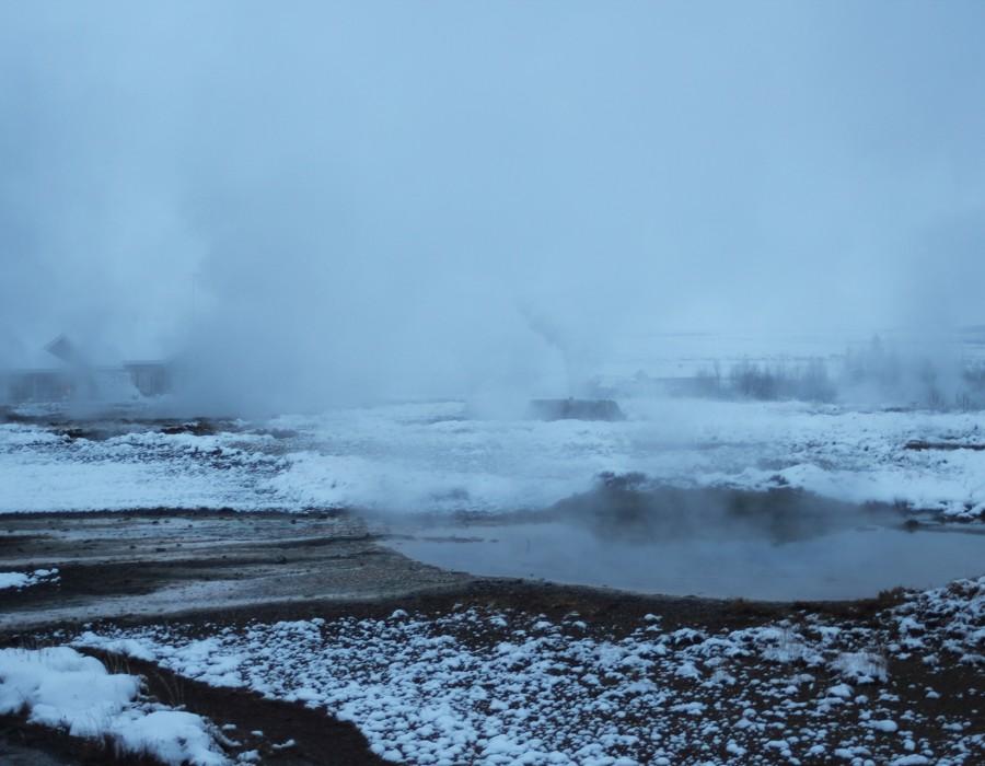 Hot springs in a snowy landscape