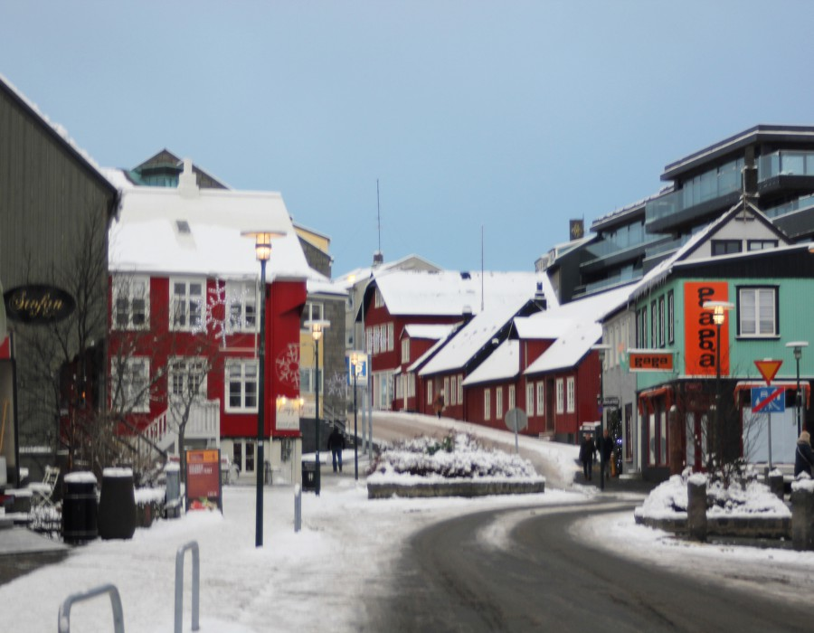 A town covered in snow